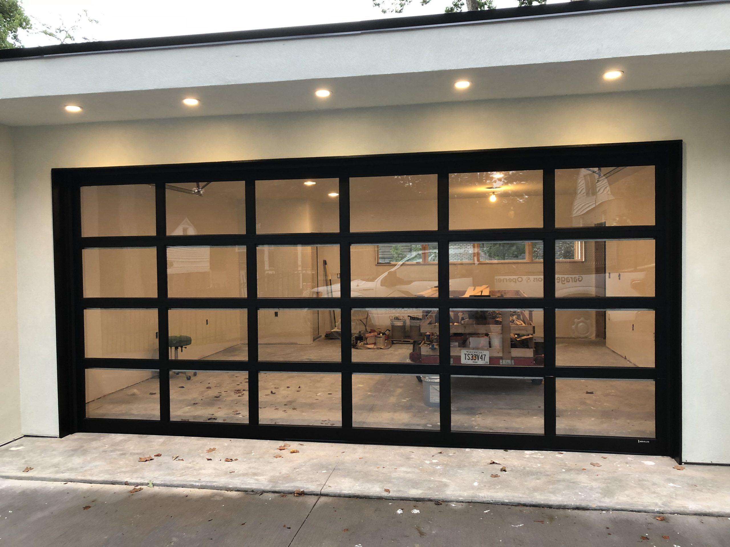 Black Full-View Glass Garage Door
