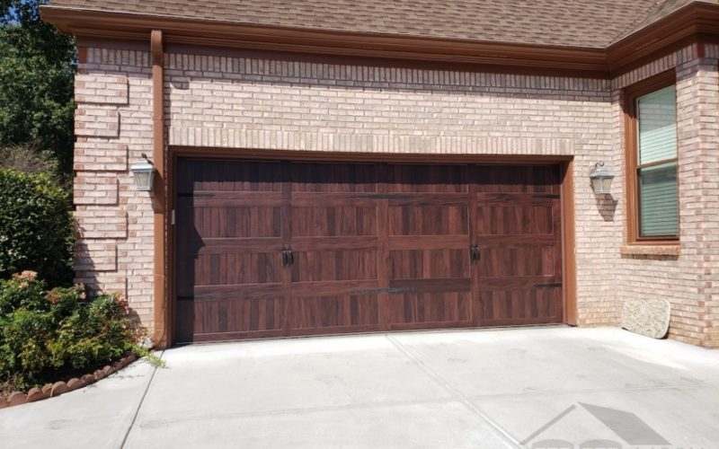 Faux Wood Mahogany Garage Door Suwanee GA