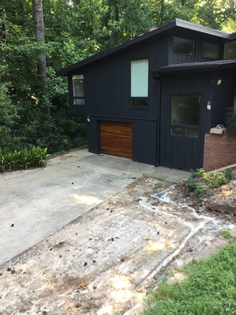 modern plank garage door